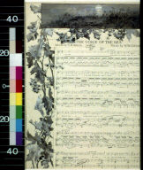 """Leaves and moonlit beach scene around musical notation for """"The Voice of the Sea"""""""