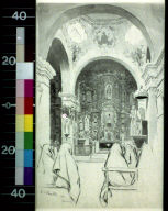 Interior of San Xavier : a priest in embroidered vestments was exhorting them in Spanish