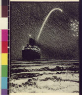 Steamship and fireworks at sea