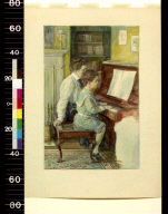 Woman giving little boy piano lesson