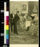 Two men approaching women at a tea table