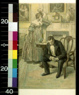 Woman standing by mantle, man seated in chair