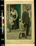 Father walking son from house on his first day of school, as mother and daughter watch from doorway