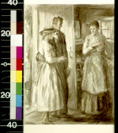 Young girl and man standing in doorway, looking at older woman