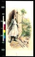 Girl looking out of barn door