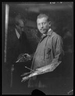 Williamson, J.M., Mr., painting an Arnold Genthe portrait, portrait photograph