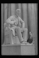 Patigian, Haig, Mr., with his Abraham Lincoln sculpture, portrait photograph