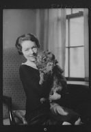 Schermerhorn, N.E., Mrs., with cat, portrait photograph