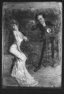 Cartoon drawing of Arnold Genthe photographing a young woman by Maynard Dixon