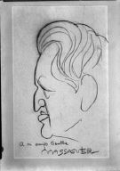 Caricature drawing of Arnold Genthe by Conrado Massaguer