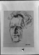 Portrait drawing of Arnold Genthe by Robert Leonard