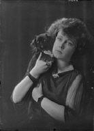 Van Velck, W.H., Mrs., with dog, portrait photograph