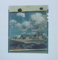 Photograph of a painting of a stable with horses outside and with little fluffy clouds in the sky above