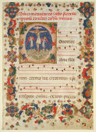 Page from a Hymnal or Psalter (with Historiated Initial 'C')