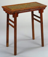 Recessed-leg Table with Stone Top