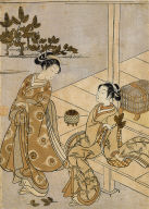 Two Girls--One with a Branch of Pine Needles