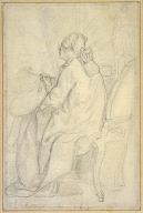 Augustin de Saint-Aubin Seated before an Easel in his Studio