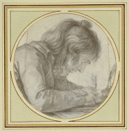 A Young Man Seated at a Desk Writing