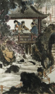 [Hanging scroll, Playing Weiqi at the Water Pavillion]