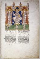 Leaf from a Beatus Manuscript: Christ in Majesty with Angels and the Angel of God Directs Saint John to Write the Book of Revelation
