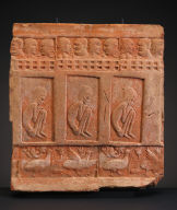 Tile with Friezes of Conversing Figures, Meditating Ascetics, and Waterfowl