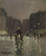 A Wet Night on the Boulevard Saint- Germain, Paris