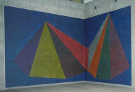 Wall Drawing No. 623 Double asymmetrical pyramids with colour ink washes superimposed