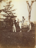 Mary Pierrepont on Silvertail with R. Stuyvesant and Dog