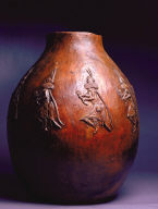 Pot with Dancers with Headdresses and Rattles