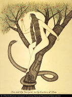 Eve, and the Serpent, in the Garden, of Eden; REAL PEN WORK