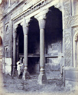 Agra. Carved Stone Pillars in the Old Palace of Ghangis.