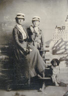 Studio Portrait in front of the Cliff House[two young women with white caps]
