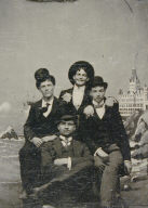 Studio Portrait in front of Cliff House [four young men in hats]
