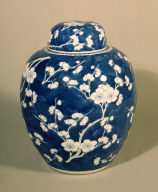 One of a Set of Four Porcelain Ginger Jars with Plum-Blossom Decoration