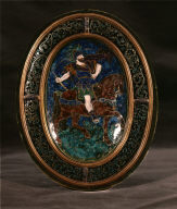 Limoges Painted Concave Oval Plaque: Ninus, King of Nineveh