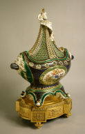 One of a Set of Three Vases with Birds, Dark Blue and Green Grounds: Pot-Pourri in the Shape of a Masted Ship