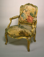 One of Four Fauteuils with Gilt and Polychrome Frames and Beauvais Tapestry Covers Showing Pastoral Scenes