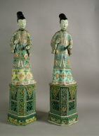 Two Porcelain Figures of Ladies on Stands