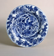 Blue and White Shallow Plate on Foot Ring with Phoenix
