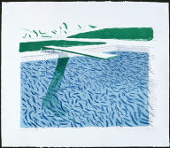 Lithographic Water made of lines, crayon and a blue wash