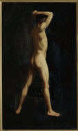 (Male Nude with Raised Arms)