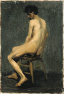 (Seated Male Nude Seen From Behind)