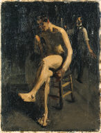 (Seated Male Nude with Painter in Background)