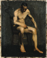 (Seated Male Model, Bent Over)