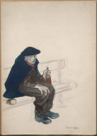 [(Parisian with Wine Bottle and Loaf of Bread), (Seated Old Man)]