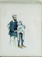 (Child Seated in Man's Lap)