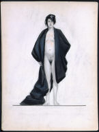 Standing Nude in Black Drape