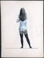 Standing Woman, From Rear, In Chemise and Black Stockings