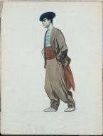 (Standing Man in Brown Suit and Cummerbund)