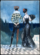 (Harlequin and Lady in Evening Dress)